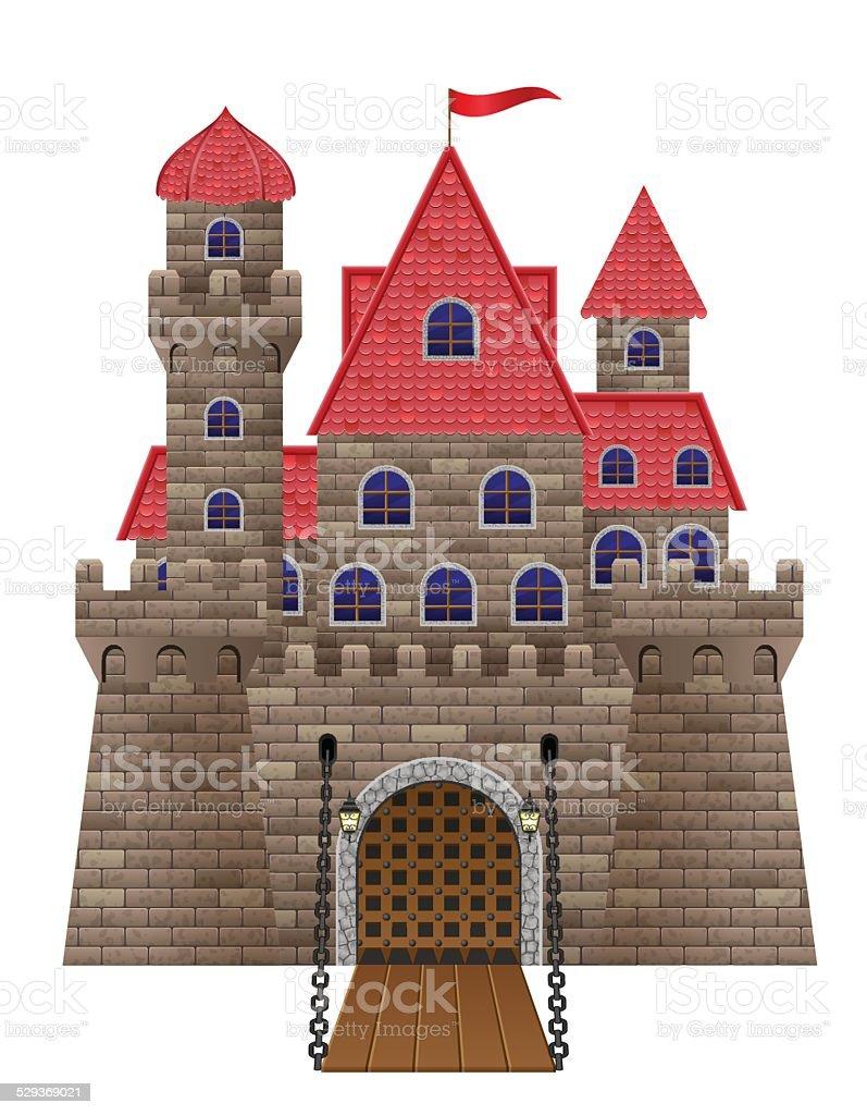 ancient old stone castle vector illustration vector art illustration