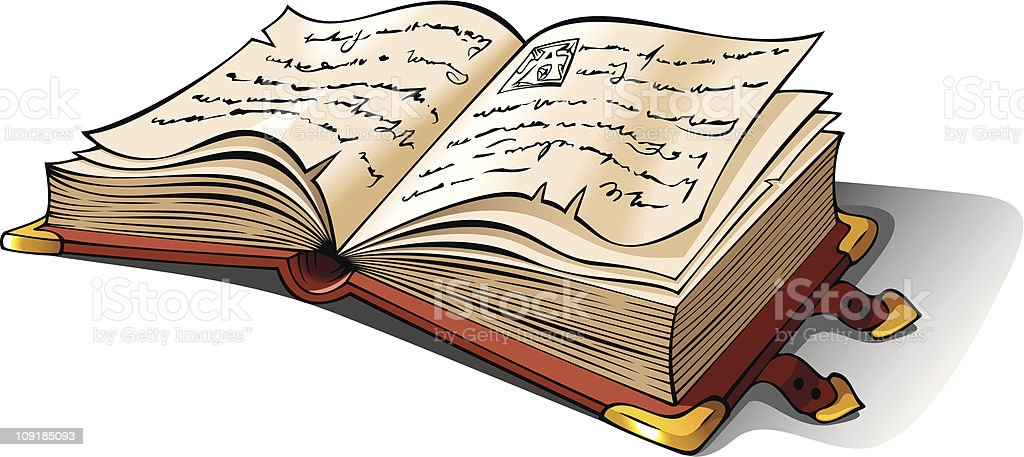 Ancient opened book royalty-free stock vector art