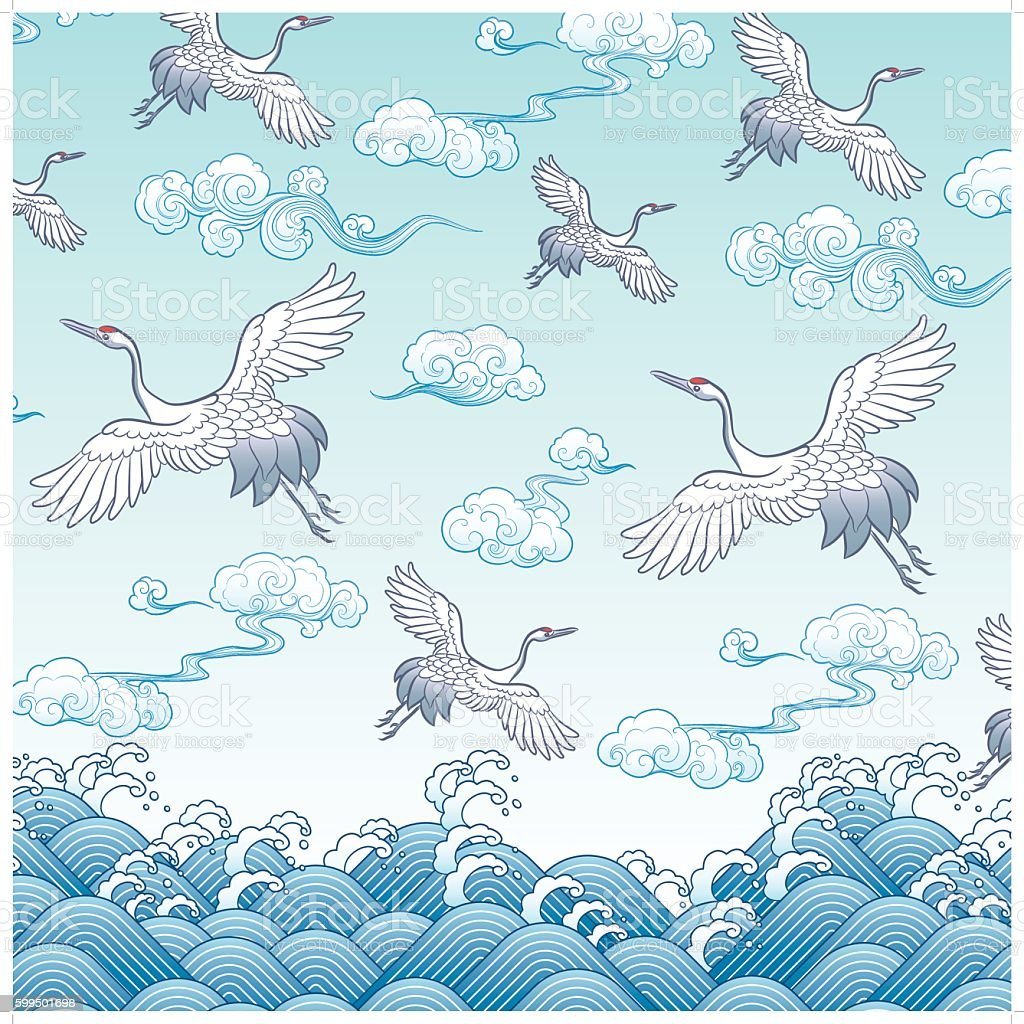 ancient oriental crane painting vector art illustration
