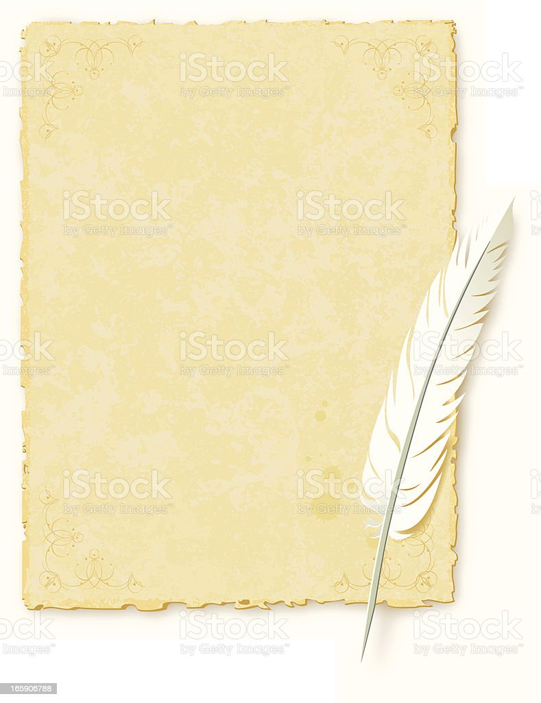 Ancient paper topped with a bird feather pen vector art illustration