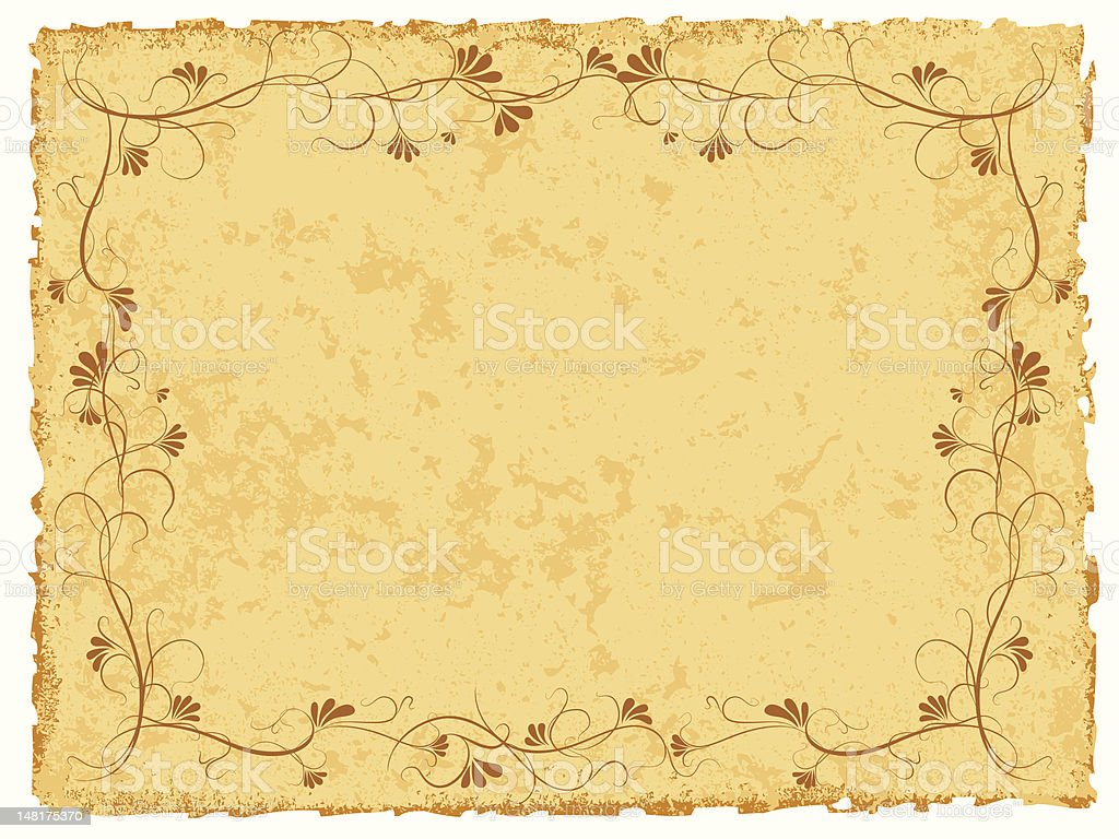 ancient paper with floral ornament vector art illustration