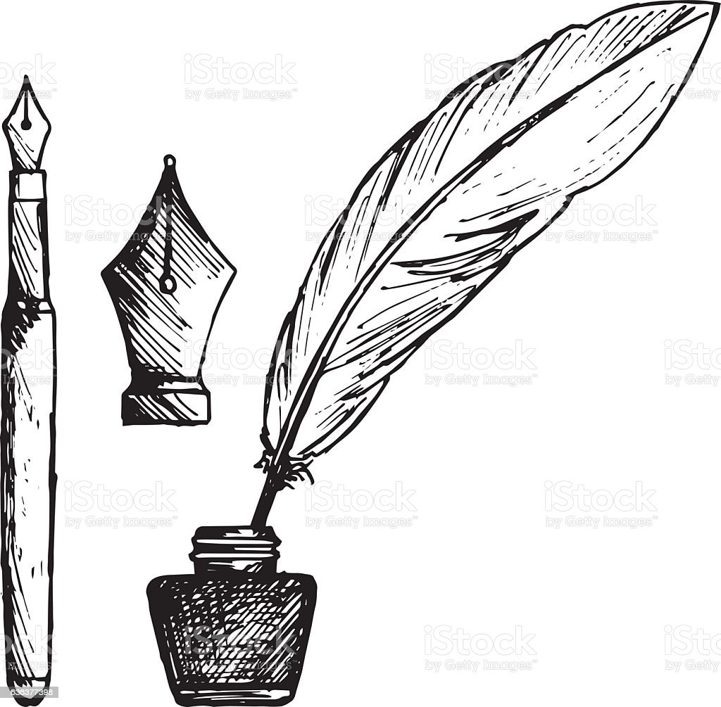 Ancient pen, inkwell and old ink pen vector art illustration