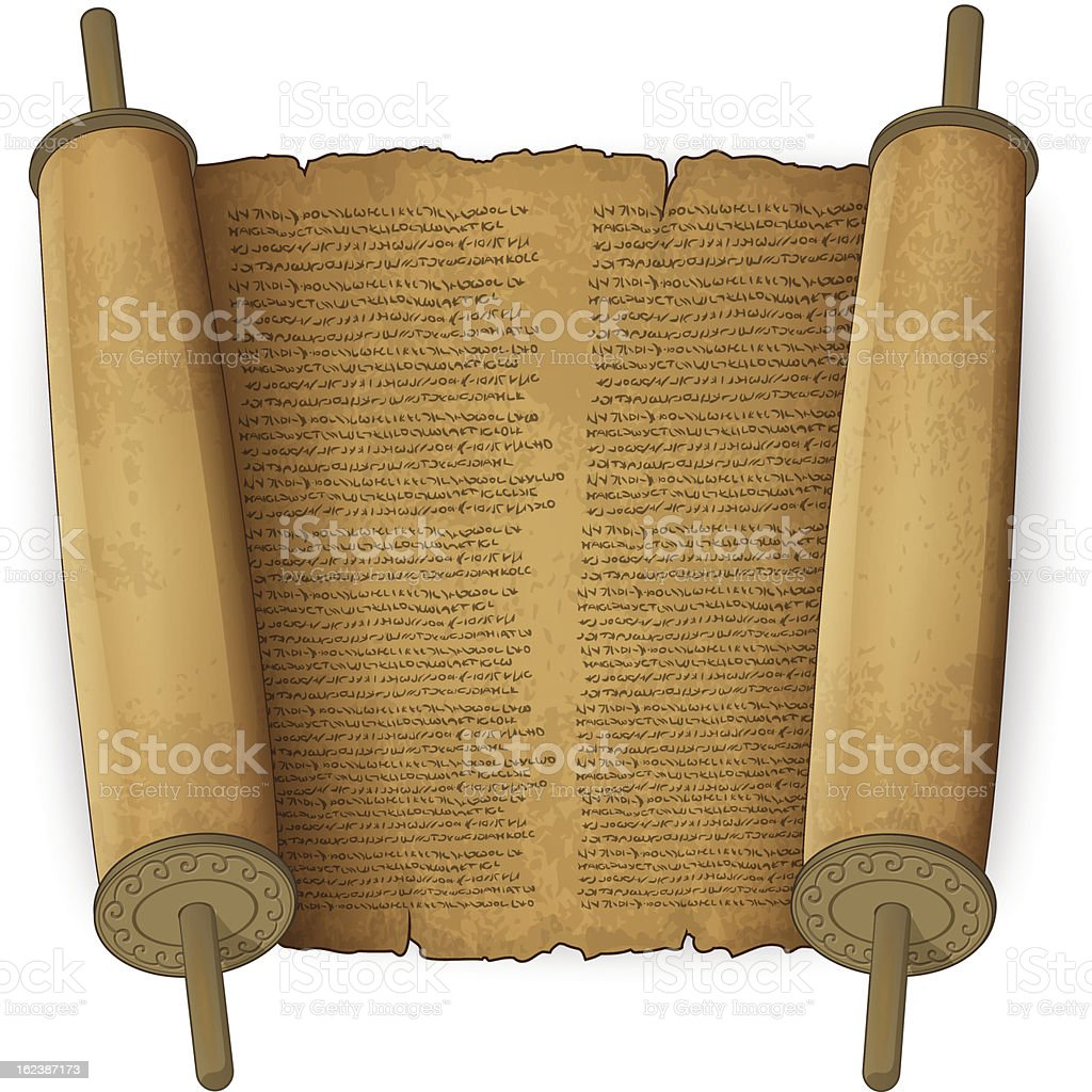 Ancient scrolls with text vector art illustration