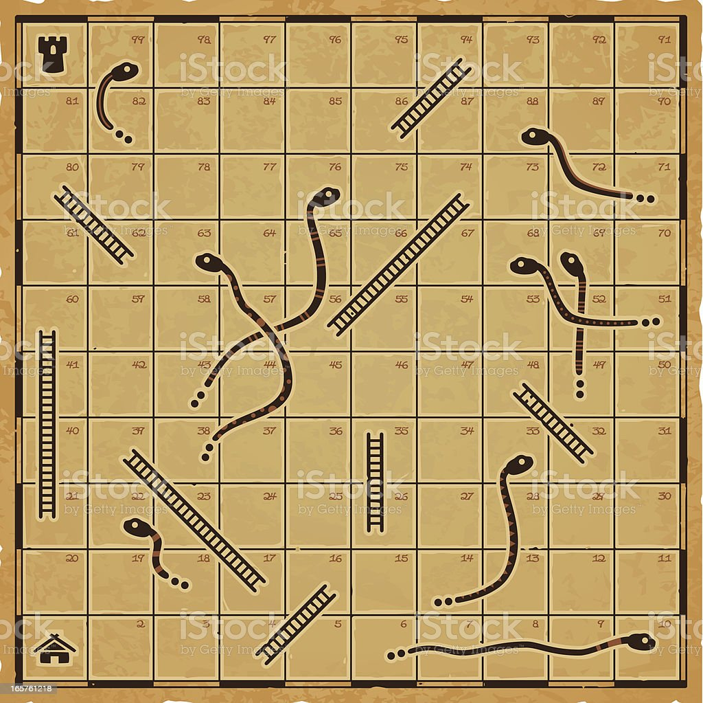 Ancient Snakes and Ladders royalty-free stock vector art