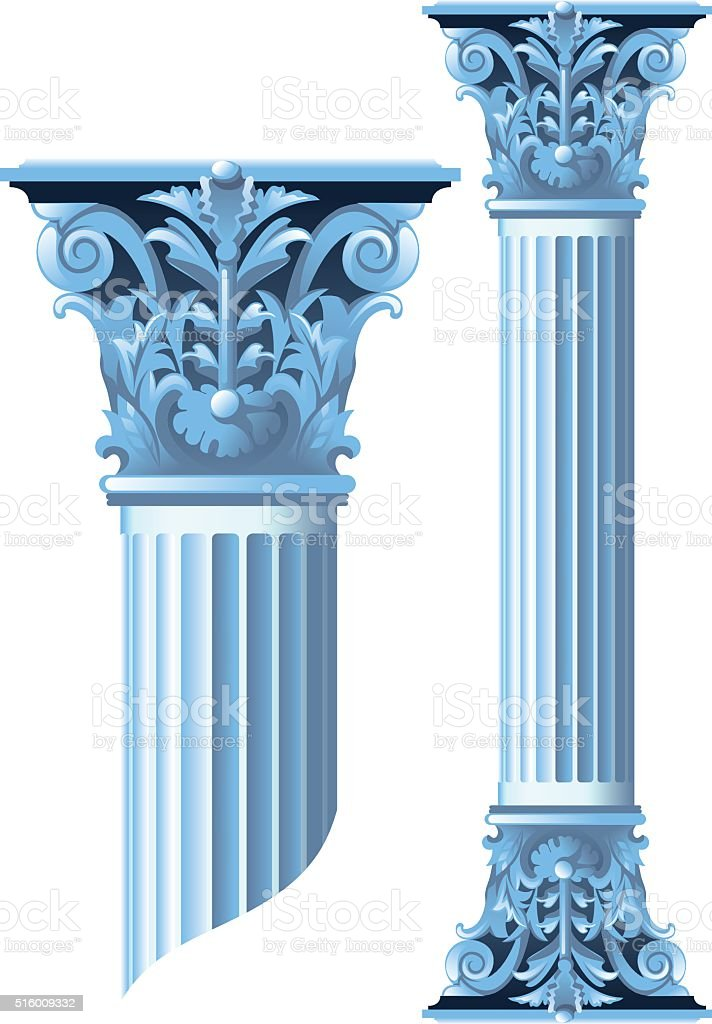 Ancient stone columns vector art illustration