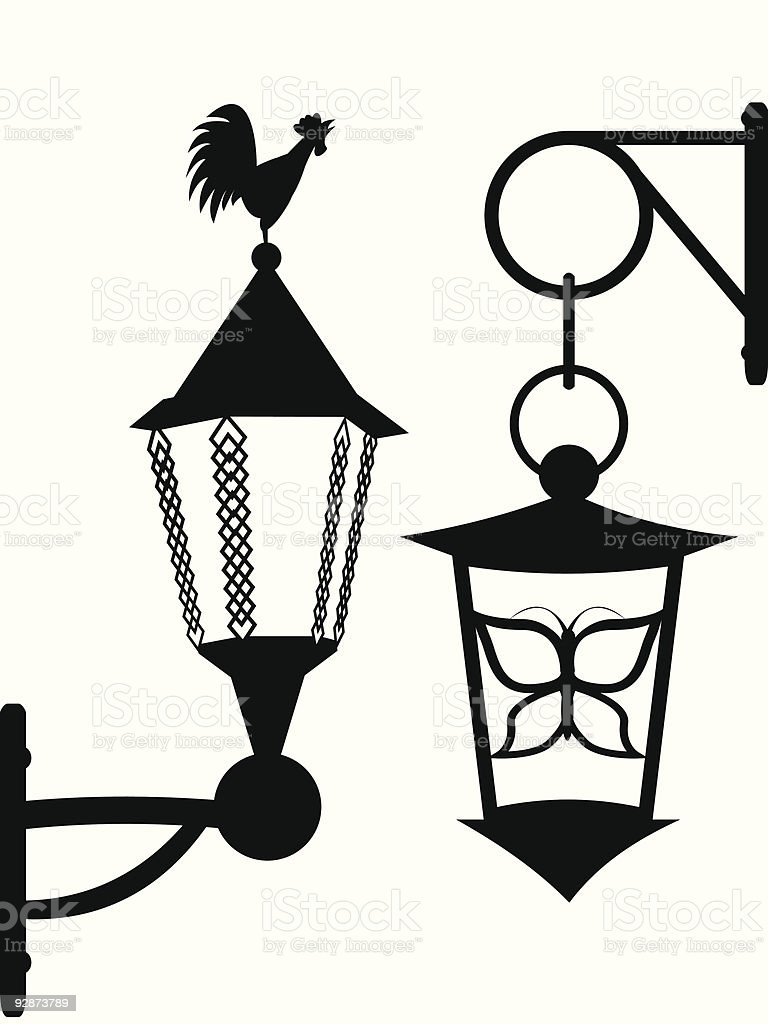 Ancient street lanterns royalty-free stock vector art