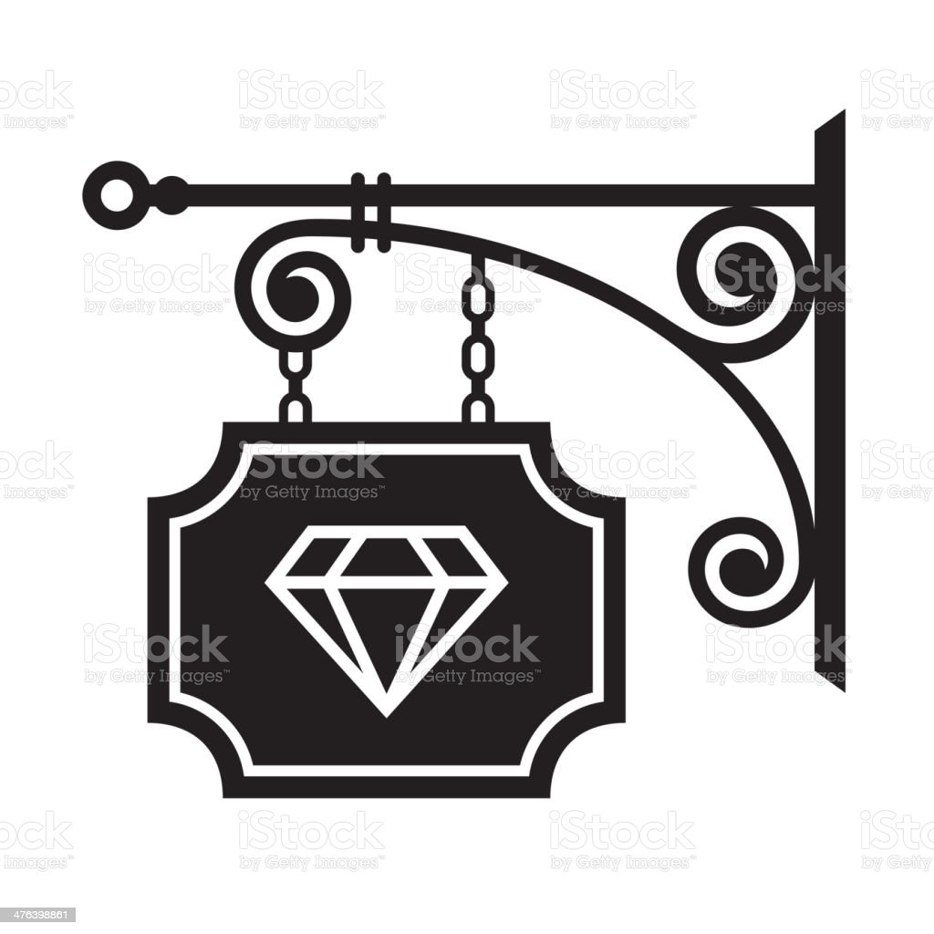 Ancient street signboard of  jeweler royalty-free stock vector art