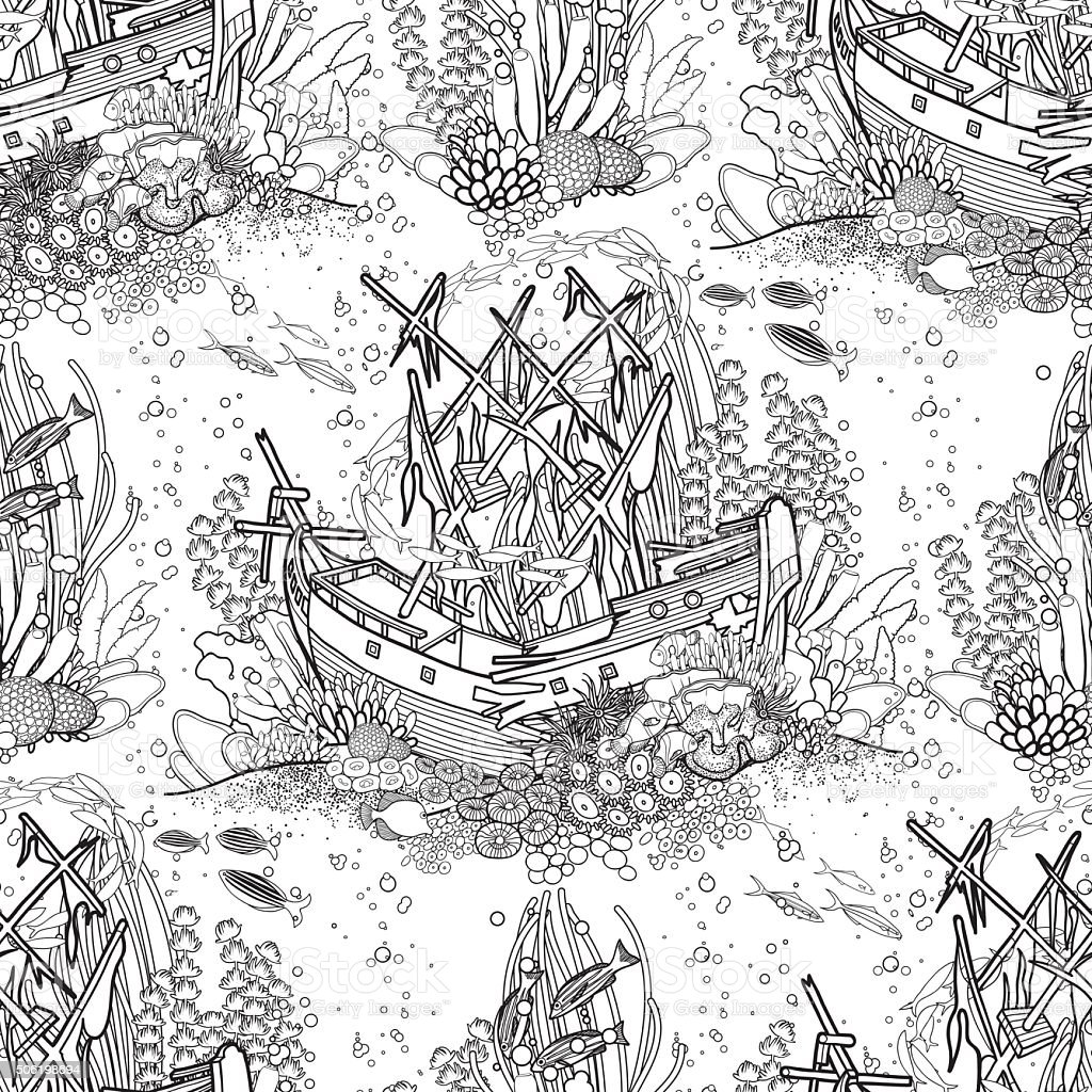 Ancient sunken ship and coral reef pattern vector art illustration