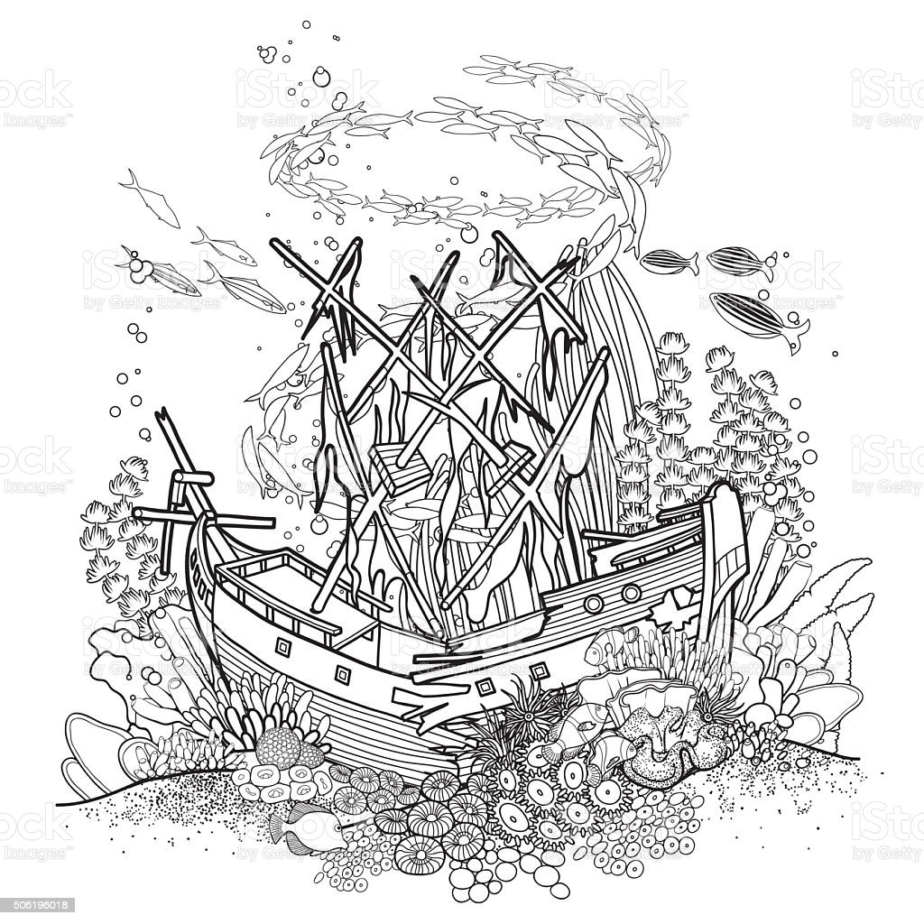Ancient sunken ship and coral reef vector art illustration