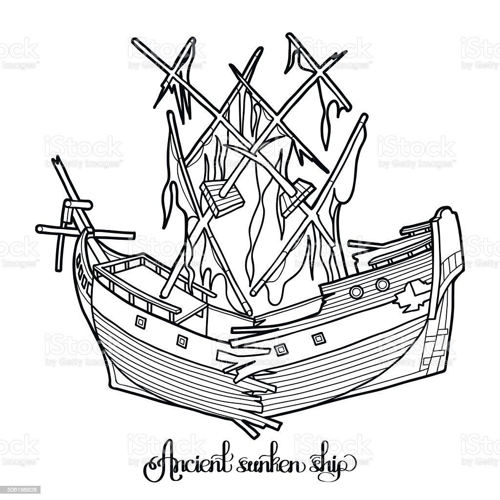 Ancient sunken ship. vector art illustration