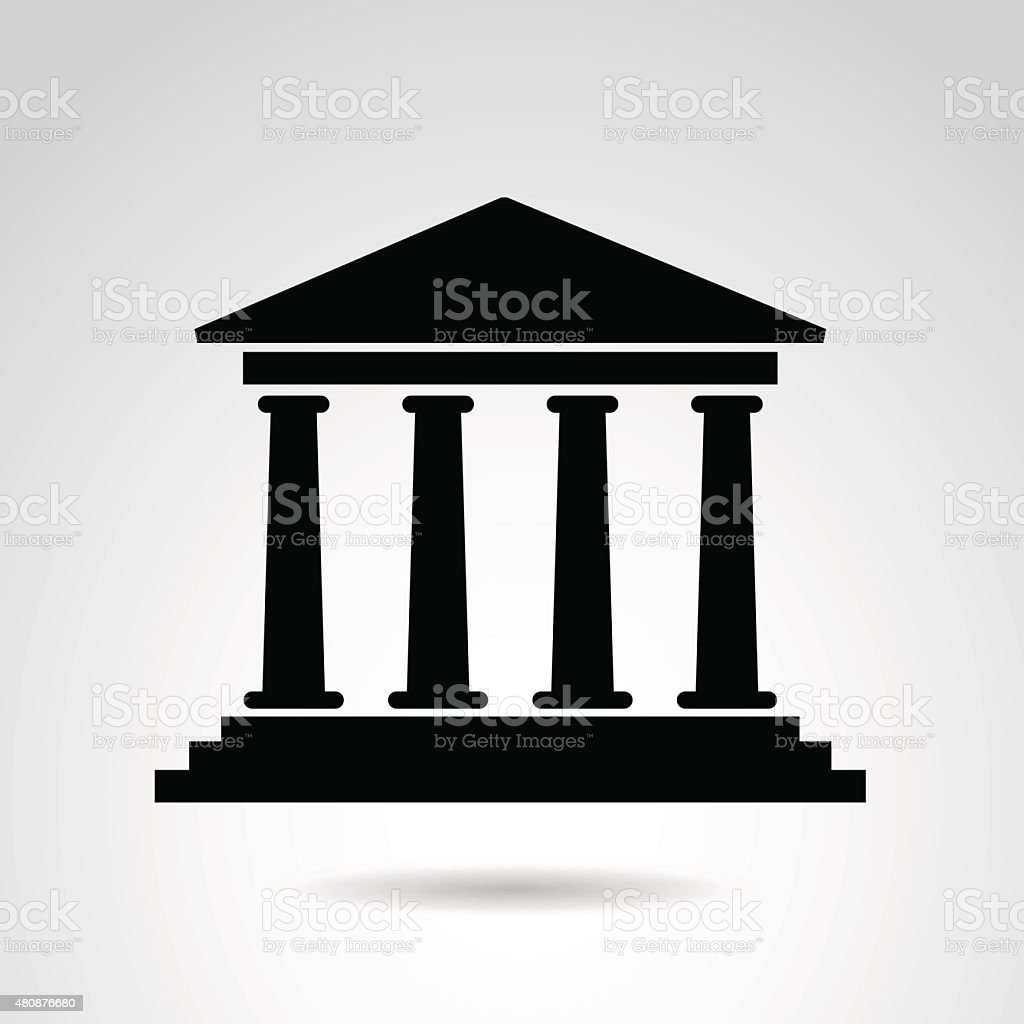 Ancient temple icon. vector art illustration