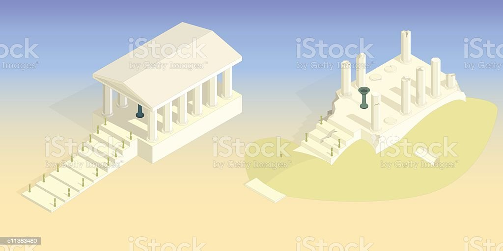 Ancient temple intact and destroyed vector art illustration