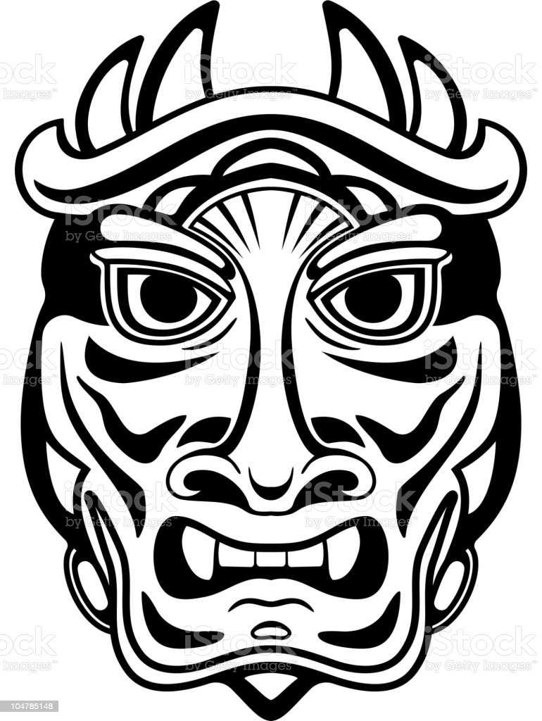 Ancient tribal mask royalty-free stock vector art