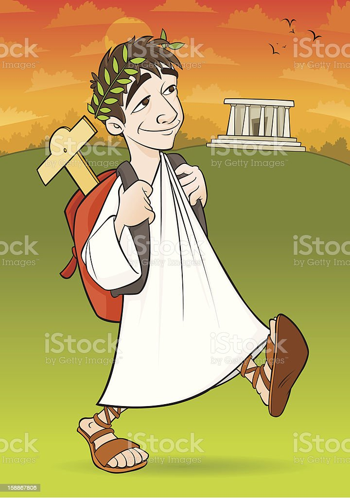Ancient University Student royalty-free stock vector art