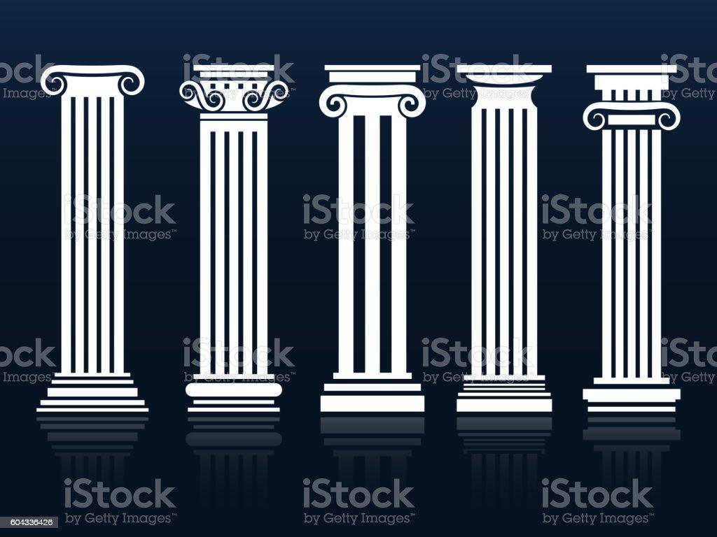 Ancient vector columns set vector art illustration