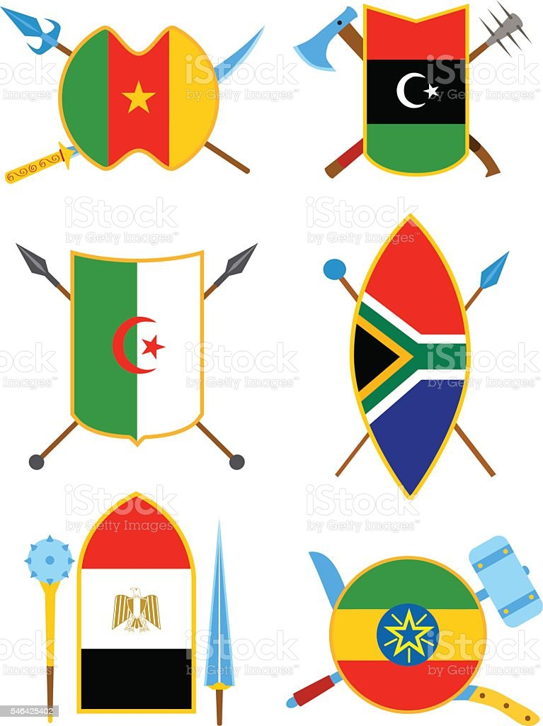 Ancient weapon, shields with African flags. vector art illustration