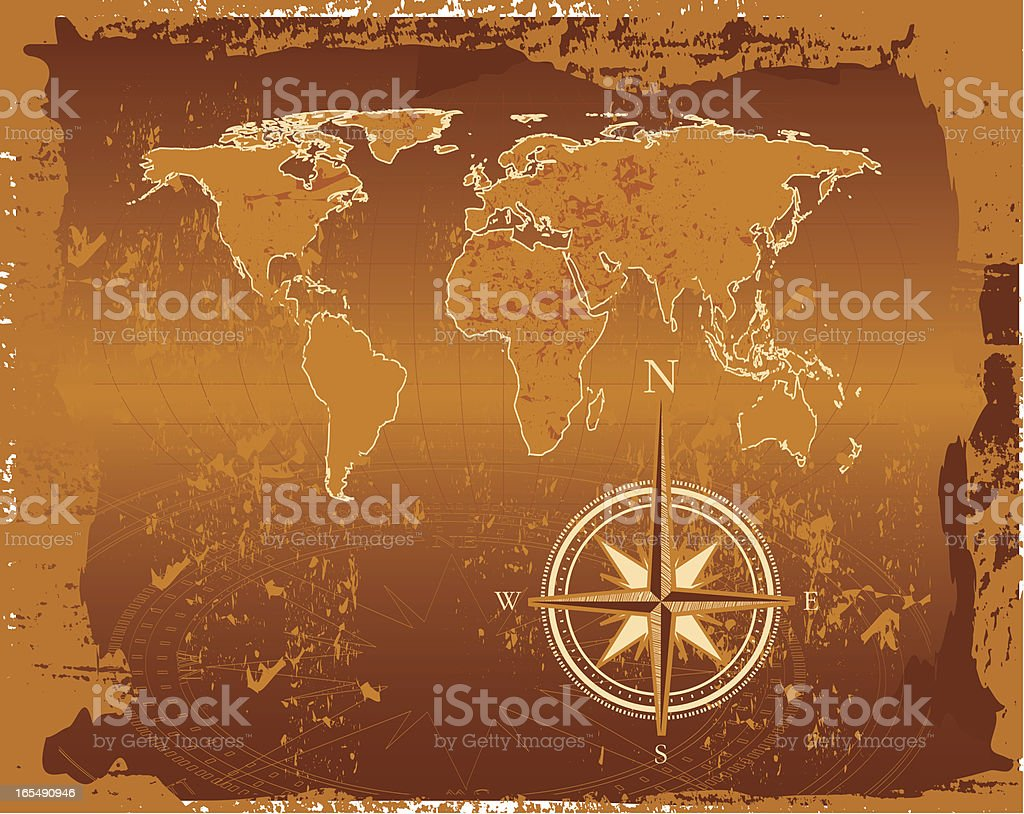 Ancient World Map royalty-free stock vector art