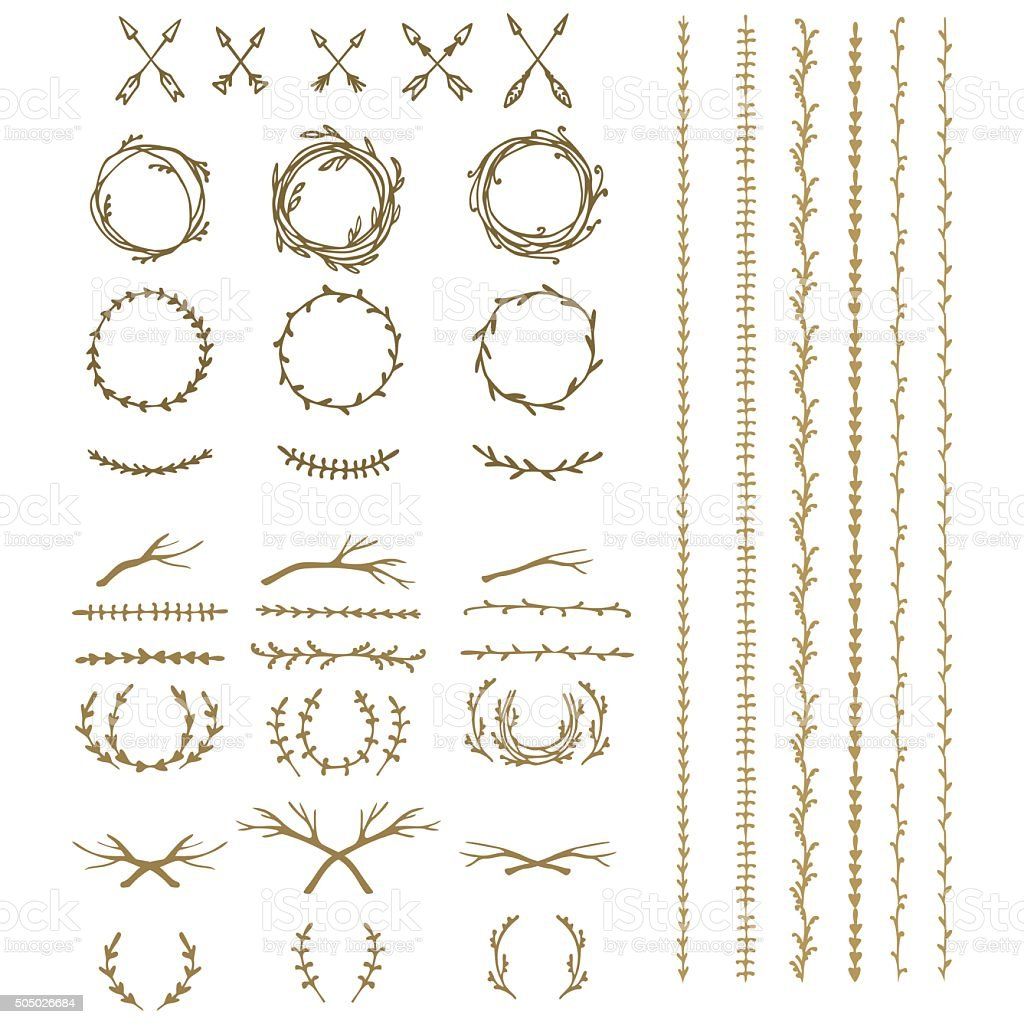 ancient  wreath, text dividers and borders with laurel leaves, vector art illustration