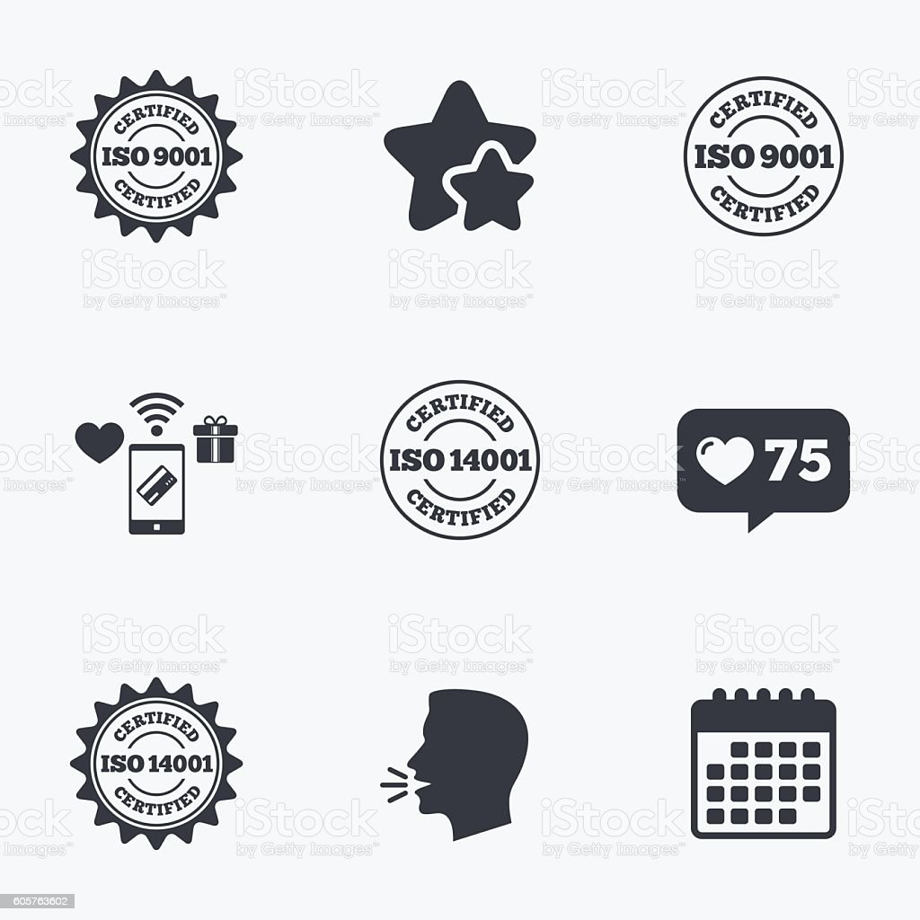 ISO 9001 and 14001 certified icon. Certification vector art illustration