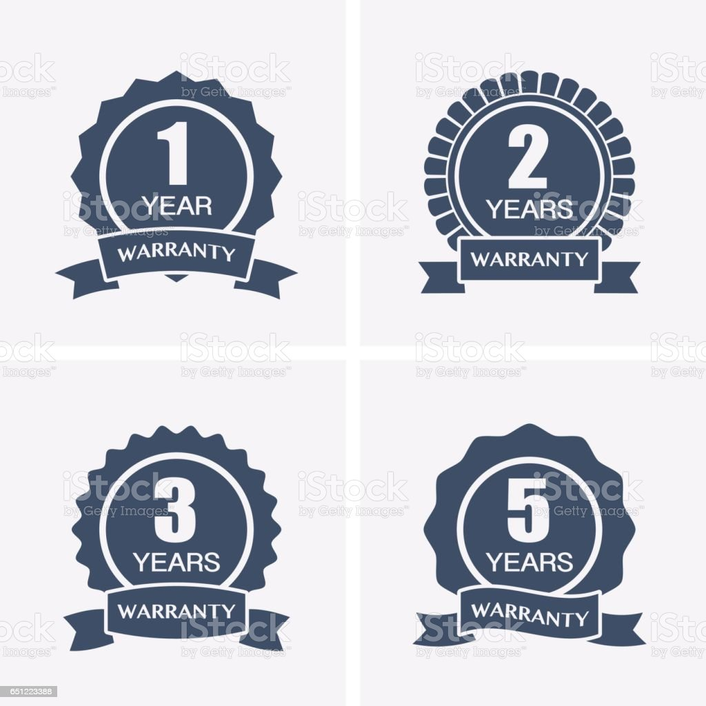 1, 2, 3 and 5 years Warranty Icons isolated on Certified Medal. vector art illustration