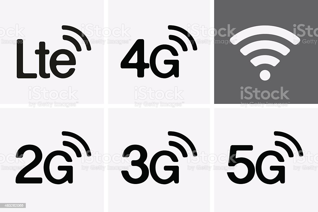 LTE, 2G, 3G, 4G and 5G technology icon symbols vector art illustration
