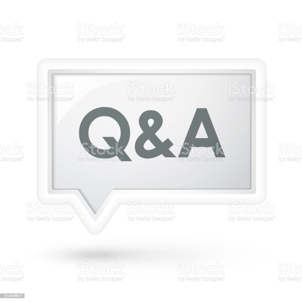 Q and A words on a speech bubble vector art illustration