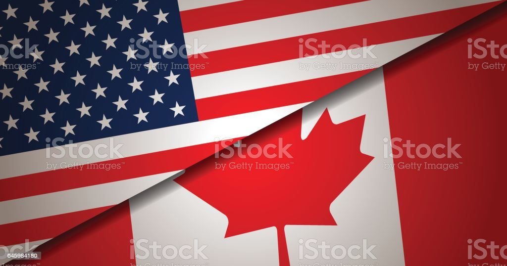 USA and Canada flag background vector art illustration