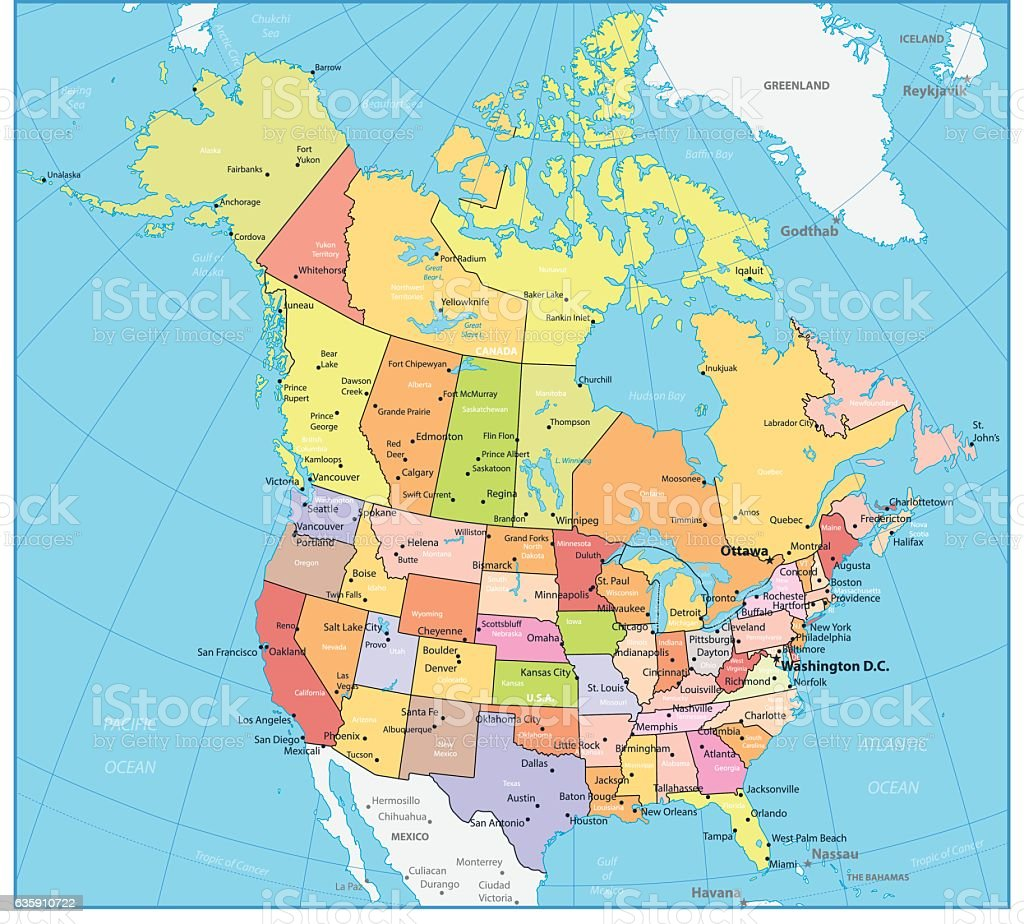Usa And Canada Large Detailed Political Map Stock Vector Art - Map of the usa political