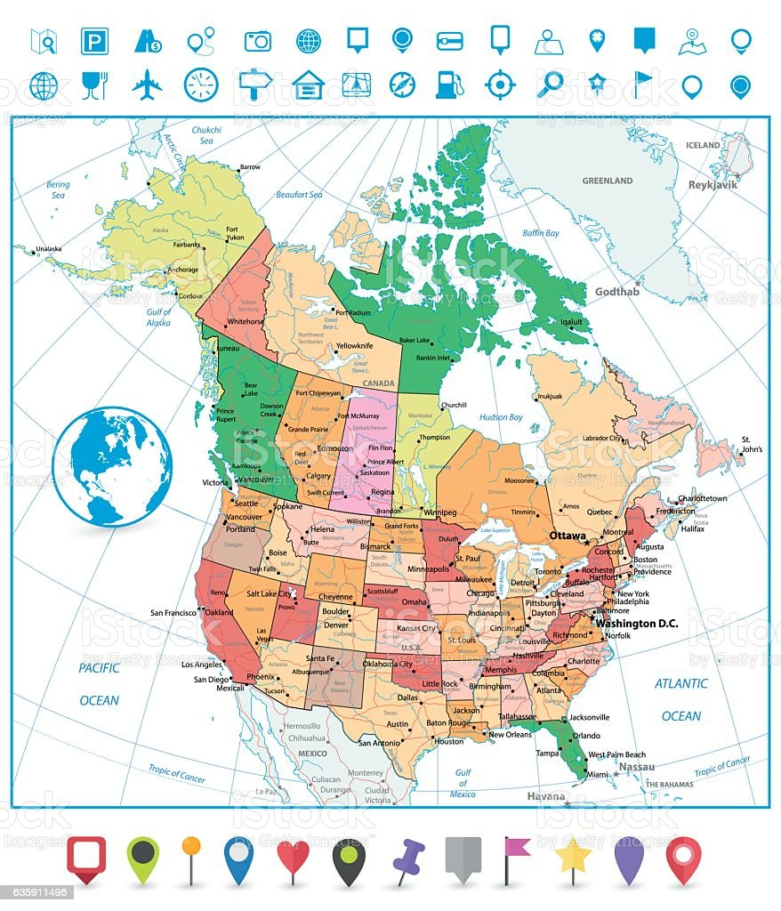 USA And Canada Map Political Map Of North America Nations Online - Us and canada map vector