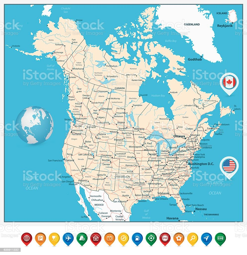 Usa And Canada Large Detailed Political Map With Map Pointers – Map of Canada Detailed
