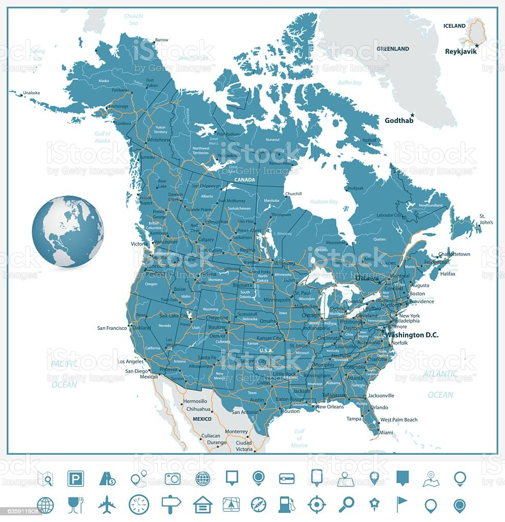 USA and Canada road map and navigation icons vector art illustration