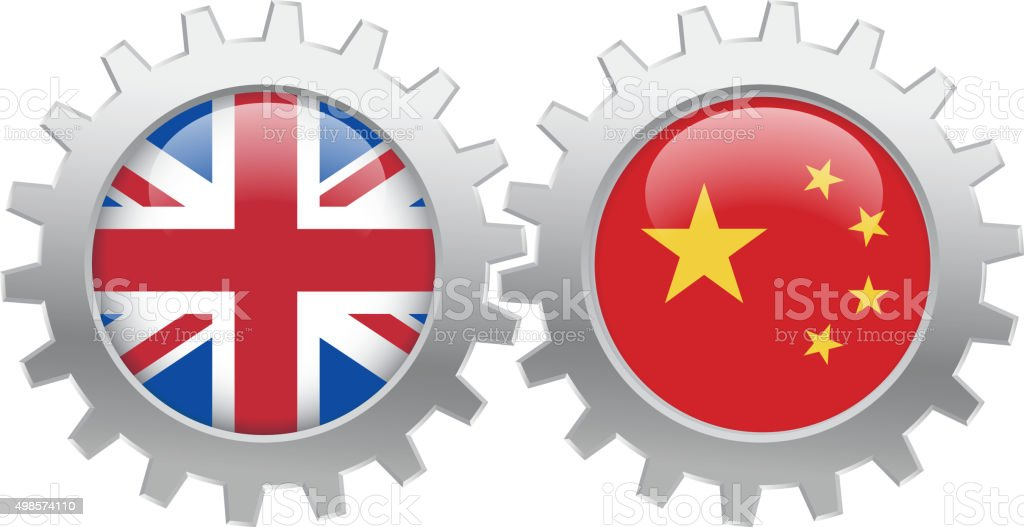 UK and China cooperation vector art illustration