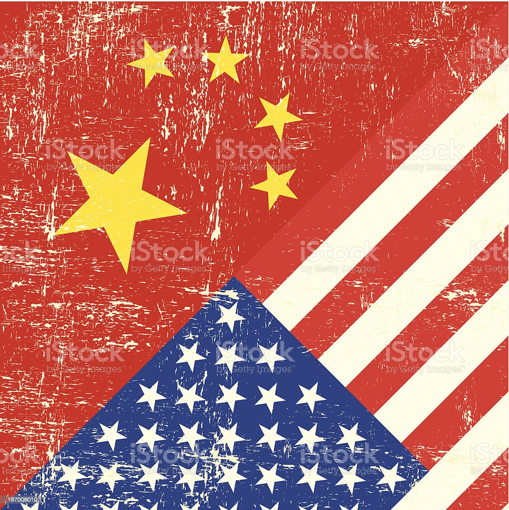 USA and Chinese grunge Flag royalty-free stock vector art
