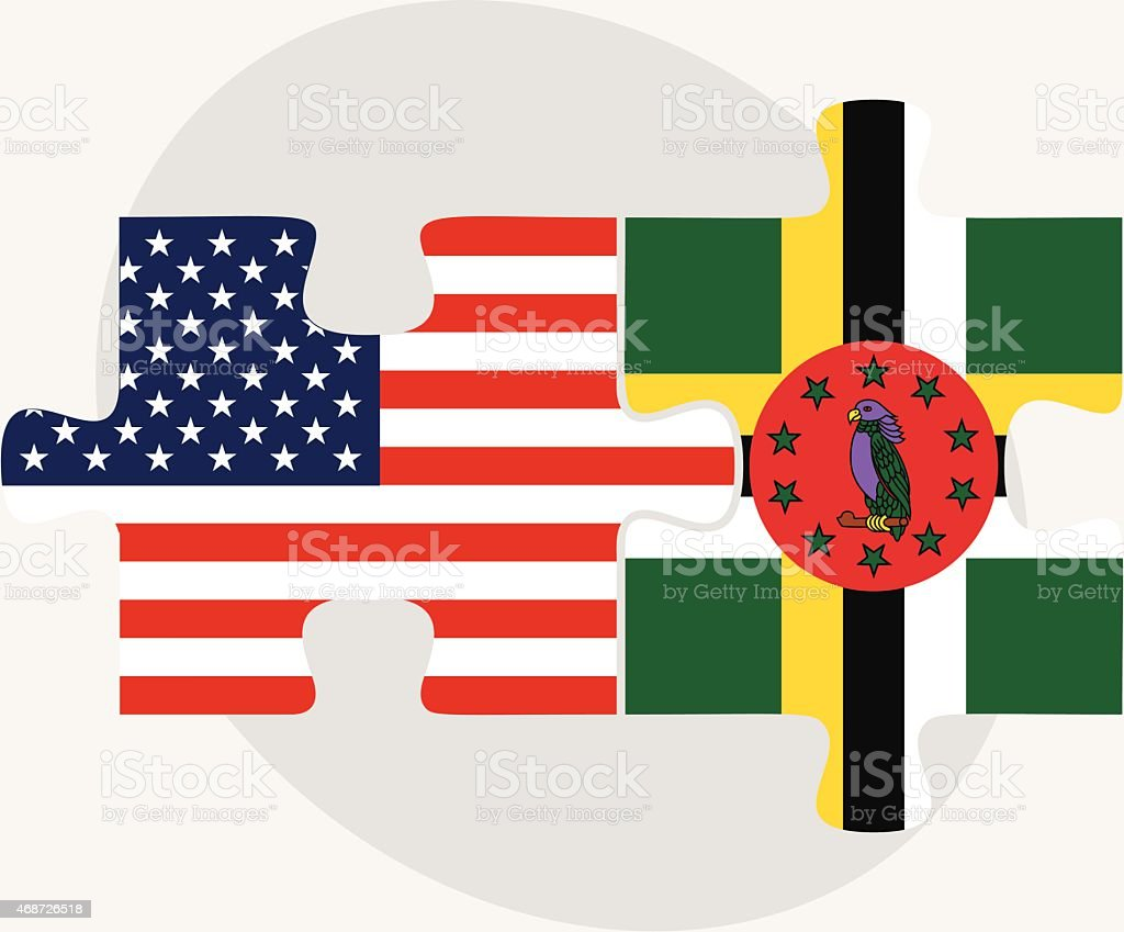 USA and Commonwealth of Dominica Flags in puzzle vector art illustration