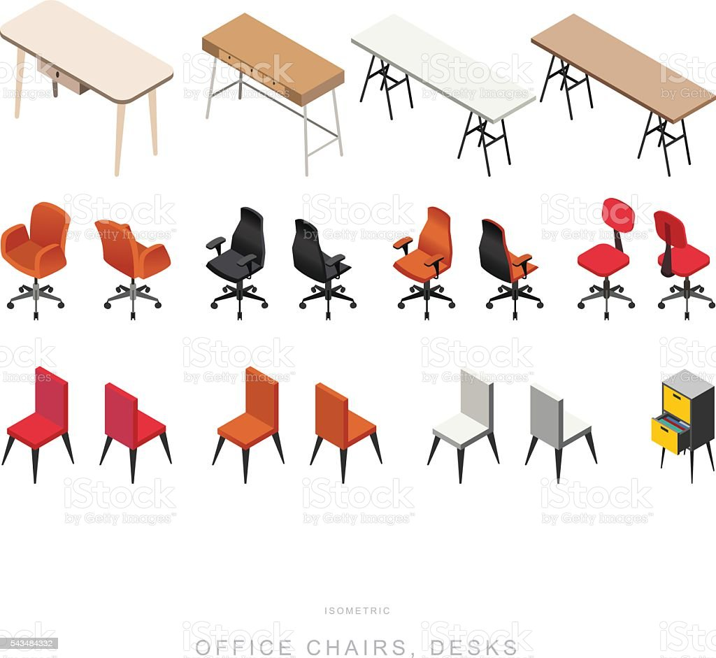ISOMETRIC OFFICE CHAIRS and DESKS, vector design vector art illustration