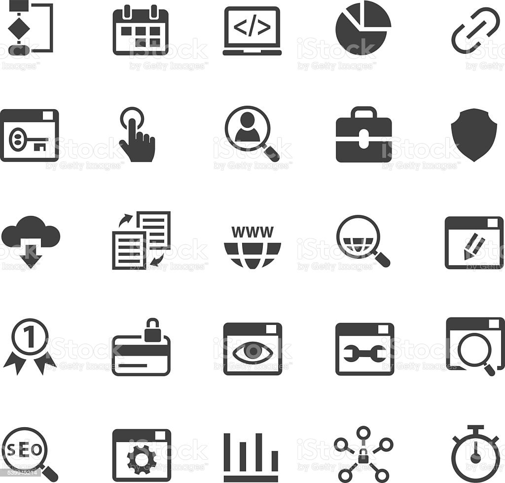 SEO and development icon set vector art illustration