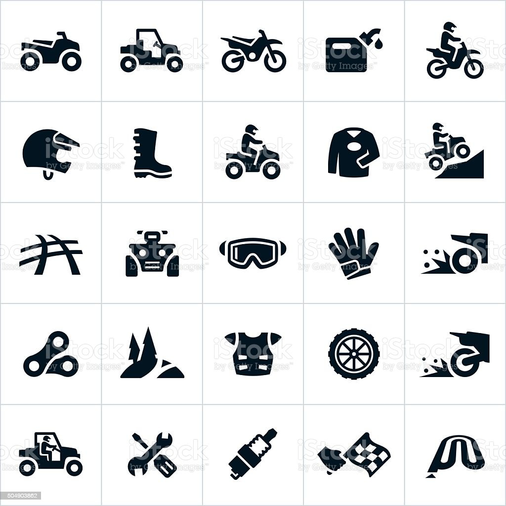 ATV, UTV and Dirt Bike Icons vector art illustration