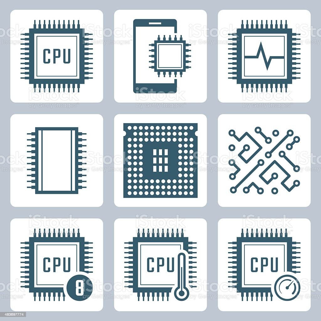 CPU and electronic chip vector icon set vector art illustration