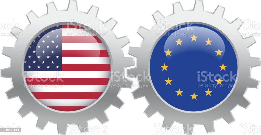 USA and EU cooperation vector art illustration