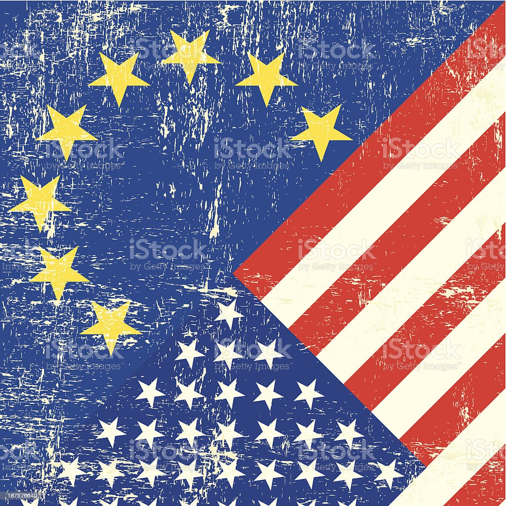 US and european grunge Flag vector art illustration