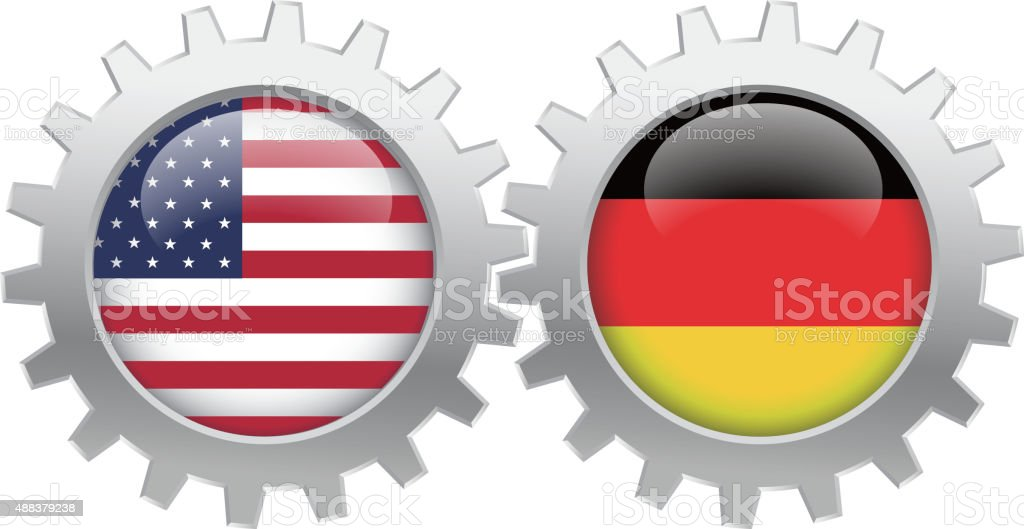 USA and Germany cooperation vector art illustration