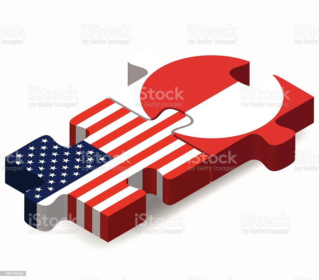USA and Greenland Flags in puzzle vector art illustration