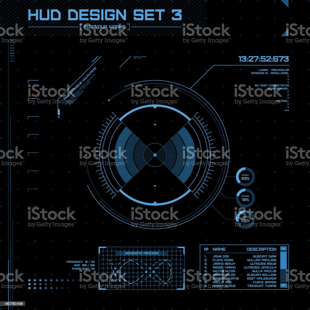 HUD and GUI set. Futuristic User Interface. vector art illustration