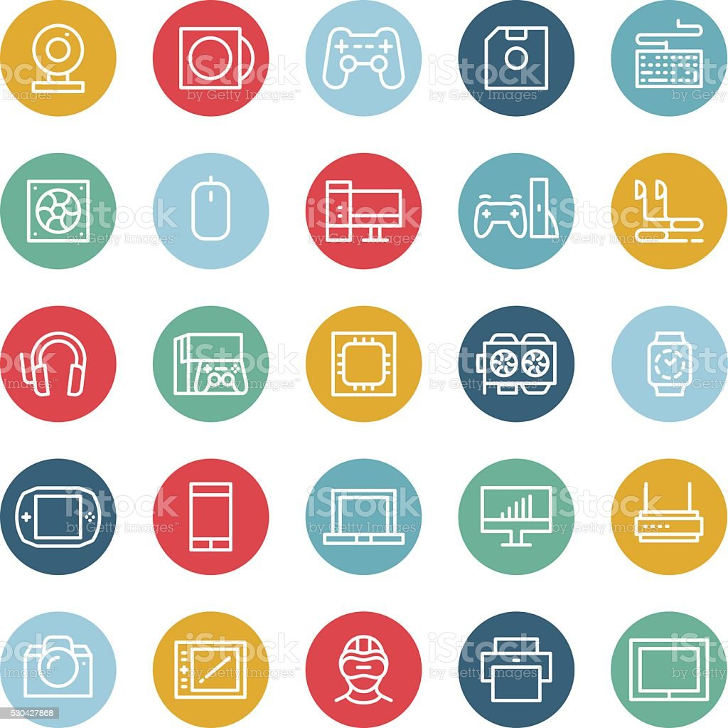 PC and hardware devices icons vector art illustration