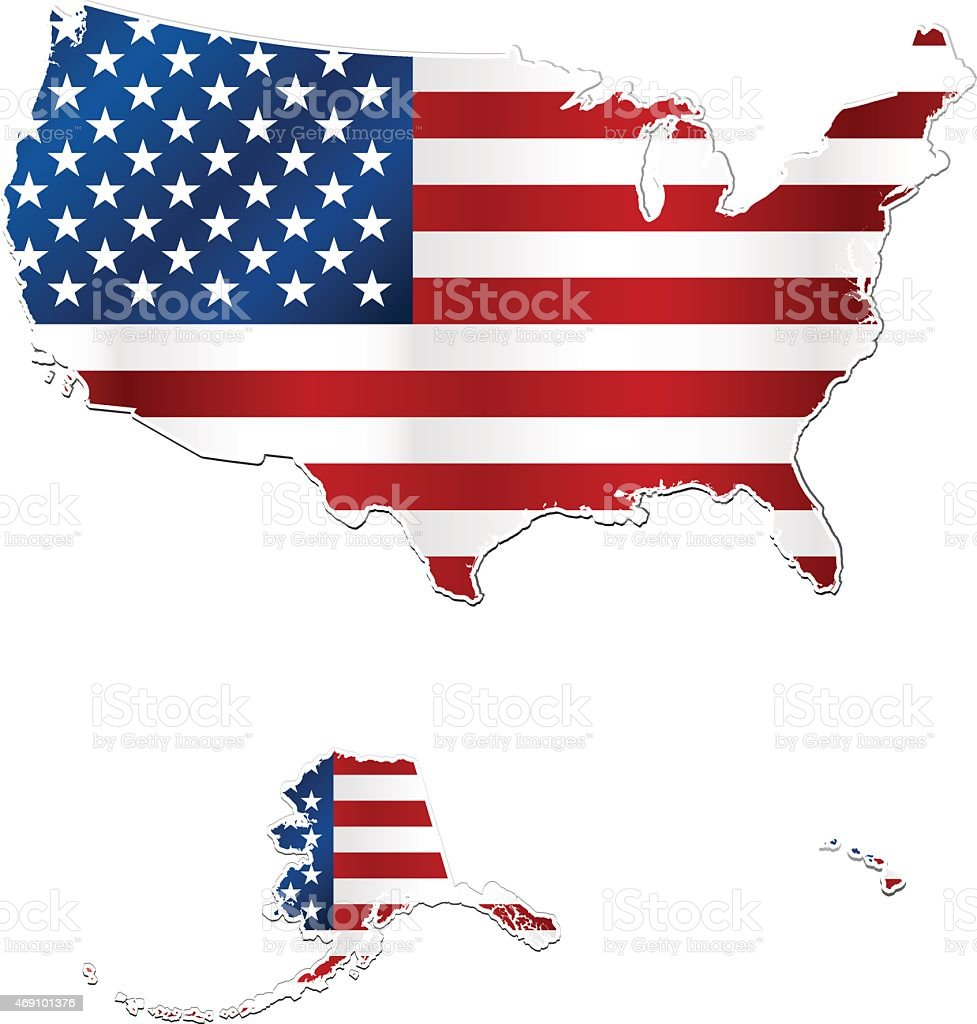Usa And Hawaii Flag Map On White Background Stock Vector Art - Hawaii map usa states