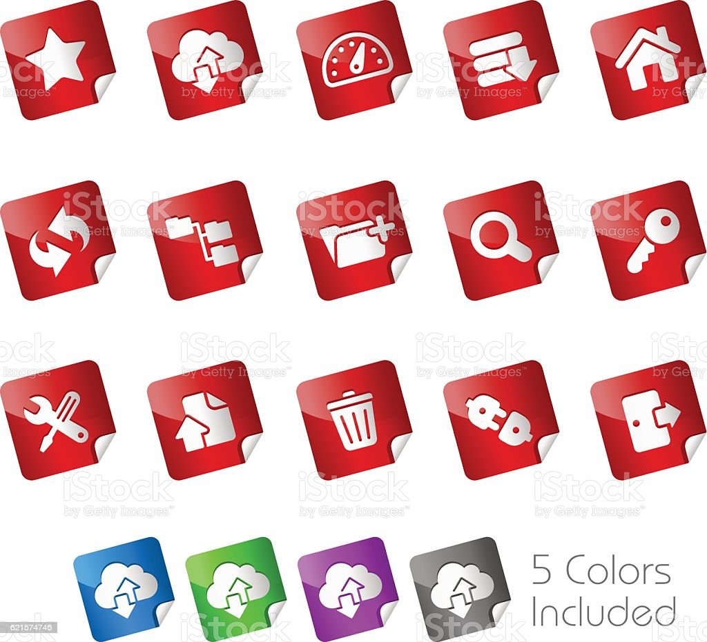 FTP and Hosting Icons // Stickers Series vector art illustration