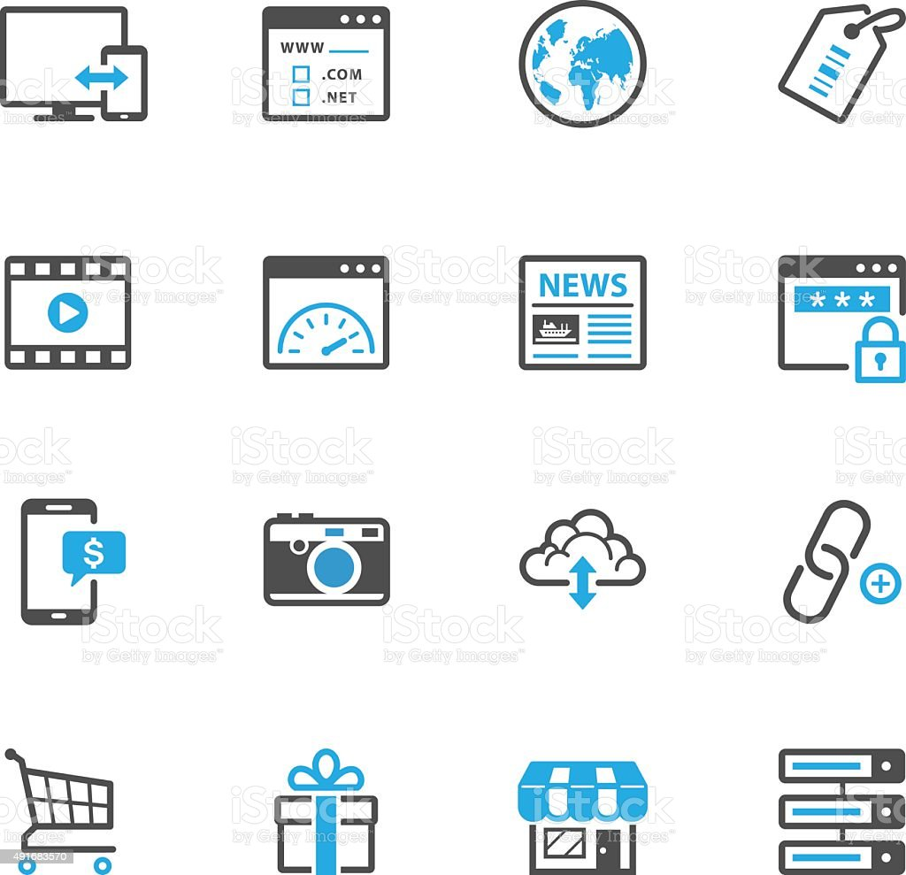 SEO and Internet Icons vector art illustration