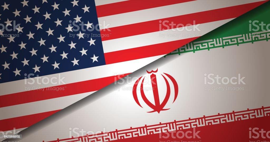 USA and Iran Flag background vector art illustration