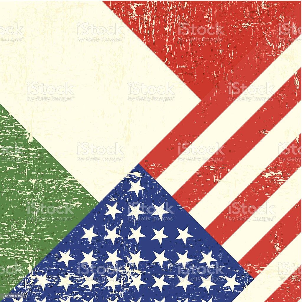 USA and Italian grunge Flag vector art illustration