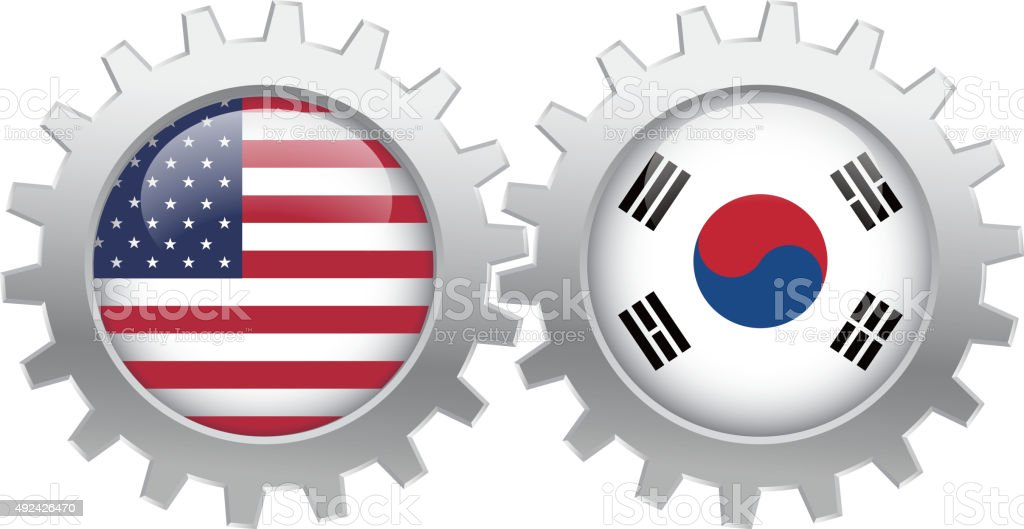 USA and Japan cooperation vector art illustration